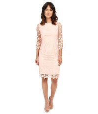 Nue By Shani Summer Lace Dress With Crochet Like Florals On Hem Blush Women's Dress Pink