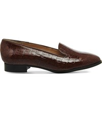 Office Rita Crocodile Embossed Patent Leather Slippers Brown Patent Leather
