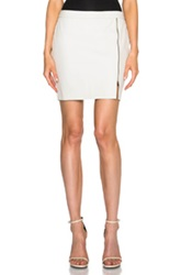 Pam And Gela Zip Leather Skirt In White