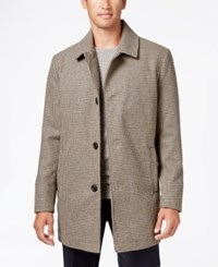 Kenneth Cole New York Wool Blend Checked Walker Coat Tan