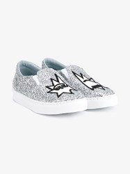 Chiara Ferragni Flirting Glitter Embellished Slip On Sneakers White Silver Black Blue