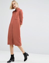 Asos Casual Midi Shirt Dress Rust Orange