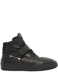D S De Rubber Insert Leather High Top Sneakers Black