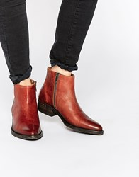 Selected Femme Bobi Cognac Leather Ankle Boots Cognac