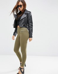 Asos Skinny Trousers With Seam Detail And Zips Khaki Green