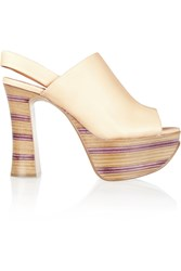 Chloe Striped Leather And Wooden Platform Sandals White