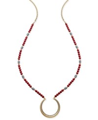 Inc International Concepts Gold Tone Beaded Half Circle Pendant Necklace Only At Macy's Red