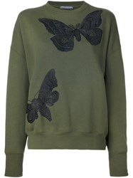 Alexander Mcqueen Moth Embroidered Sweatshirt Green
