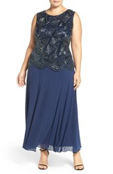 Pisarro Nights Plus Size Women's Beaded Mock Two Piece Sleeveless Gown Navy
