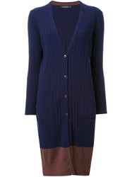 Loveless Long Ribbed Cardigan Blue