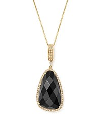 Bloomingdale's Onyx And Diamond Pendant Necklace In 14K Yellow Gold 16 Black White
