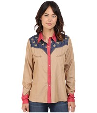 Scully Faded Glory Shirt Tan Women's Long Sleeve Button Up