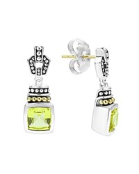 Lagos 18K Gold And Sterling Silver Glacier Drop Earrings With Green Quartz Green Silver