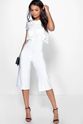 Boohoo Willow Lace Overlay Culotte Jumpsuit Ivory