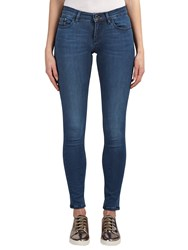 Calvin Klein Mid Rise Skinny Jeans Crushed Eighties Blue Stretch