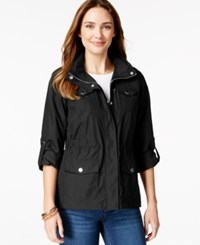 Styleandco. Style And Co. Sport Petite Zip Pocket Hooded Anorak Only At Macy's Deep Black