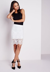 Missguided Lace Sheer Hem Midi Skirt White White