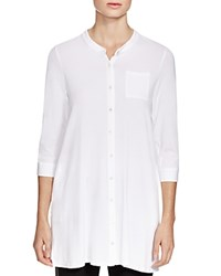 Eileen Fisher Mandarin Collar Button Down Tunic White