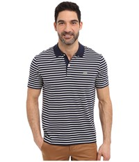 Lacoste Classic Short Sleeve Jersey Stripe Navy Blue Flour Men's Clothing Gray