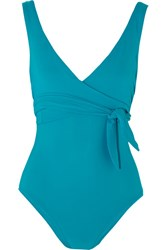 Karla Colletto Prima Wrap Effect Swimsuit Petrol