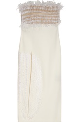 Roland Mouret Forficula Feather Appliqued Crepe Dress White