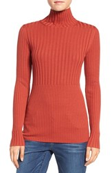 Halogenr Women's Halogen Ribbed Long Sleeve Turtleneck Top Red Ochre