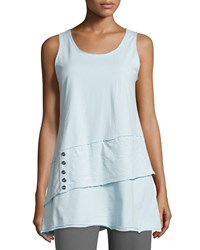 Neon Buddha Journey Asymmetric Tiered Tank W Buttons Cloud Blue