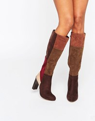 Lost Ink Gypsy Patchwork Heeled Knee High Boots Multi