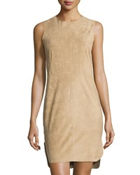 Cusp By Neiman Marcus Sleeveless Faux Suede Dress Camel
