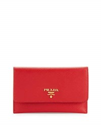 Prada Saffiano Wallet Card Case Black Nero