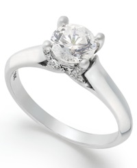 X3 Certified Diamond Solitaire Engagement Ring In 18K White Gold 1 Ct. T.W.