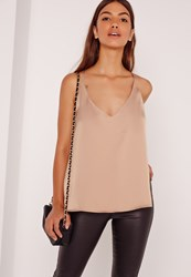 Missguided Backless Cross Strap Cami Nude Beige