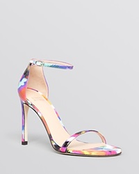 Stuart Weitzman Ankle Strap Sandals Nudistsong High Heel Floral Patent Bright Candy