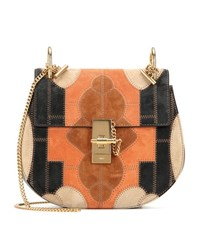 Chloe Drew Small Flower Patchwork Leather And Suede Shoulder Bag Multicoloured