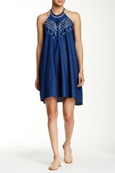 Angie Halter Neck Embroidered Denim Shift Dress Blue