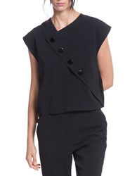 Tracy Reese Boxy Button Front Surplice Top Black