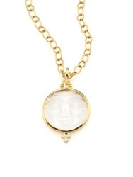 Temple St. Clair Celestial Crystal Diamond And 18K Yellow Gold Moonface Pendant
