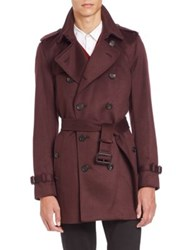 Burberry Kensington Burgundy Cashmere Trench Coat