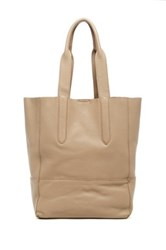 Christopher Kon Unlined Crossbody Leather Tote Beige