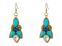 Gypsy Soule Stone Statement Dangle Earrings Turquoise Gold Earring Blue