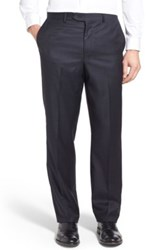 John W. Nordstrom Flat Front Check Wool Trousers Blue