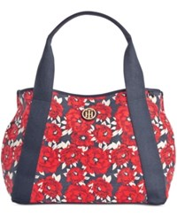 Tommy Hilfiger Th Painted Floral Canvas Tote Red