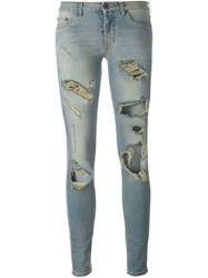 Off White Destroyed Skinny Jeans Blue