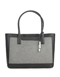 Calvin Klein Wool Accented Leather Tote Black Grey