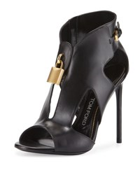 Tom Ford Padlock Leather Cutout Stiletto Bootie Black