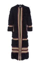 Red Valentino Shearling Long Coat With Embroidery Black