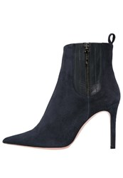 Oxitaly Sole High Heeled Ankle Boots Navy Dark Blue