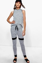 Boohoo Hooded Contrast Knit Jogger Lounge Set Grey