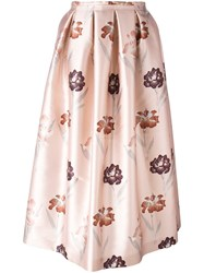 Rochas Floral Print Full Skirt Pink Purple