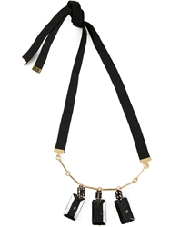 Marni Faceted Pendant Necklace Black